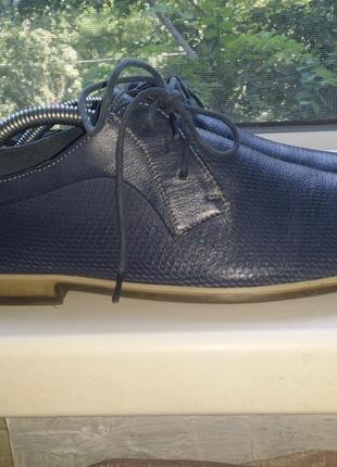 Серые мужские летние туфли  на шнуровке с перфорацией мокасины clarks натуральная кожа