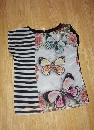 Футболка блуза с бабочками