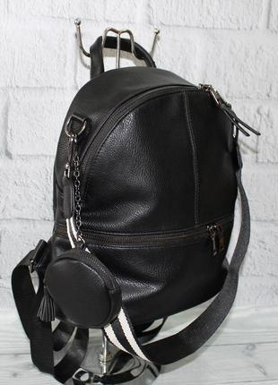 Женский рюкзак-сумка farfalla rosso 6-582 черный с кошельком, искусственная кожа