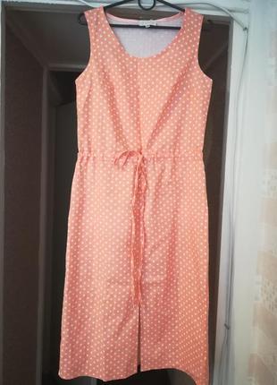 Стильный лёгкий сарафан платье s лен коттон