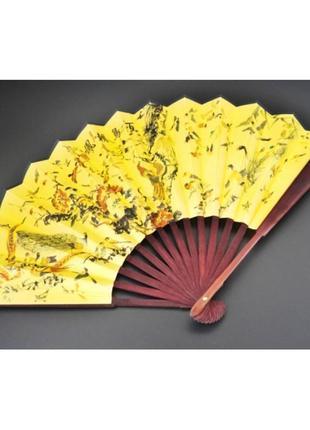 Веер ручной из бумаги ткани и бамбука
