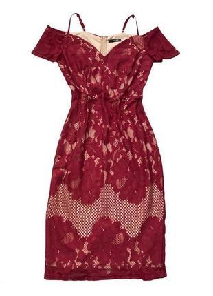 Кружевное нарядное праздничное плать миди бордо
