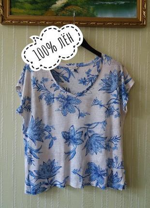 Идеальная льняная футболка от monsoon из натурального  льна в красивый цветочный принт
