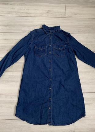 Платье/рубашка/джинсовое/с карманами