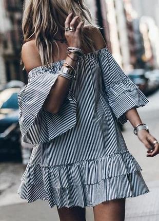 Полосатое платье этно бохо стиль,туника,блузка  с открытыми плечами zara