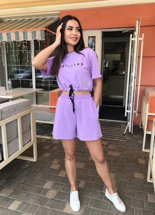 Костюм с шортами летний женский свободный топ футболка короткая