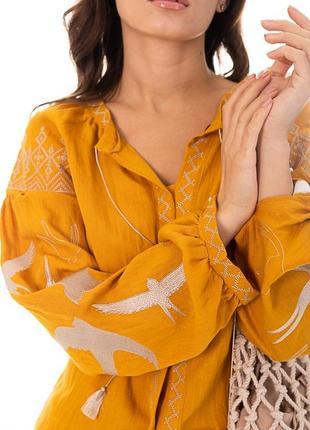 Желтая вышиванка, льняная рубашка, вышиванка с птицами, вишита сорочка , жіноча вишиванка