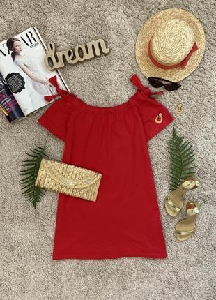 Яркое красное платье футболка со спущенными плечами №384