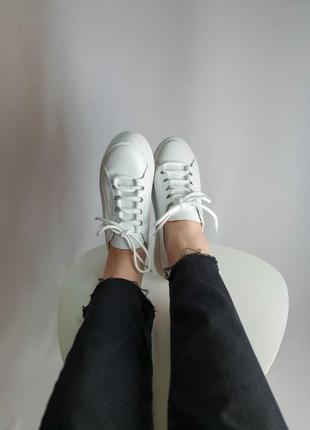 Кроссовки белые натуральная кожа женские кеды кросівки білі жіночі