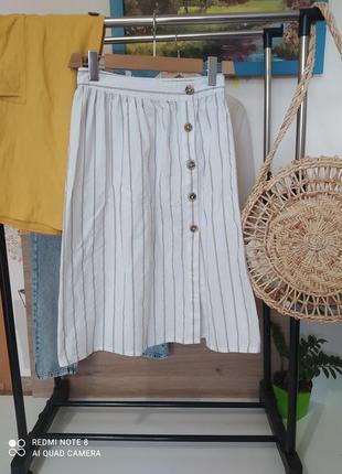 Натуральная юбка миди лён боковая застёжка