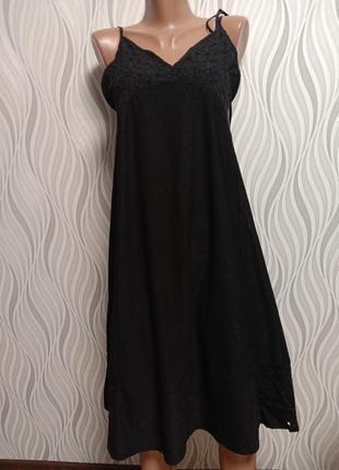 Zara черное платье сарафан с ажурными вставками