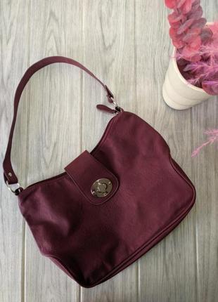 Сумка актуальная сумочка багет под руку с короткой ручкой марсала, бордо1 фото