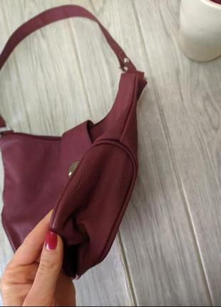 Сумка актуальная сумочка багет под руку с короткой ручкой марсала, бордо2 фото