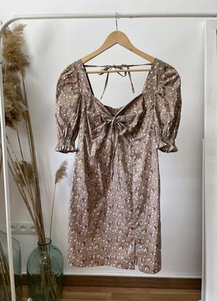 Красивое летнее платье из натурального хлопка в цветочный принт с рукавом! цвет мокко беж