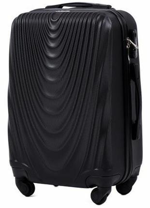 Чемодан дорожный (дорожная сумка) пластиковый на 4 колёсах маленький 304 s wings ( черный / black )