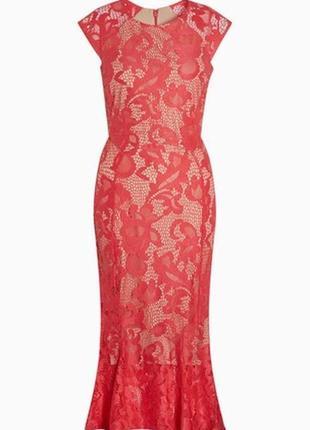 Яркое нарядное кружевное платье миди №169