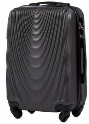 Чемодан дорожный (дорожная сумка) пластиковый на 4 колёсах маленький 304 s wings ( серый / grey )