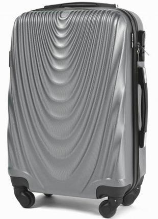Чемодан дорожный (дорожная сумка) пластиковый на 4 колёсах маленький 304 s wings (серебристый)