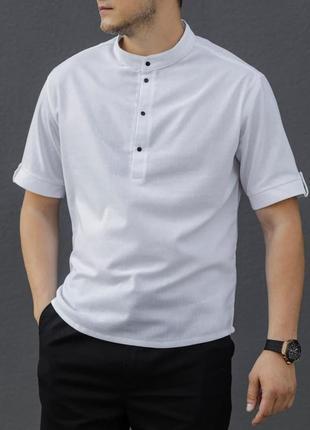 Мужская льняная рубашка белая с коротким рукавом размеры: s, m, l, xl