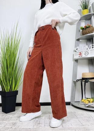 Вельветовые широкие брюки штаны wide leg george