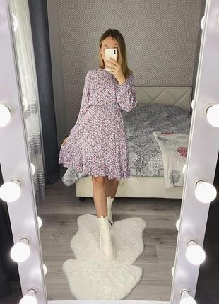 Новое платье с длинными рукавом в цветы