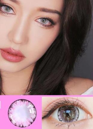 Линзы цветные для глаз, лед ice flower, розовые + контейнер для линз в подарок