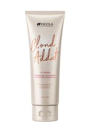Шампунь для волосся indola blond addict pinkrose shampoo, оттеночный