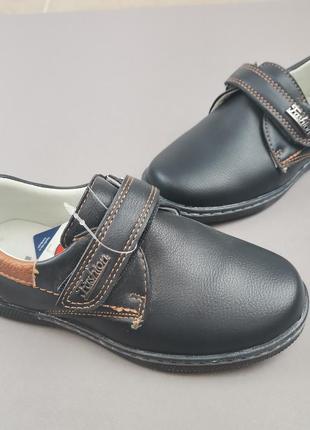 Туфли для мальчика нарядные туфлі для хлопчика чорні на липучці