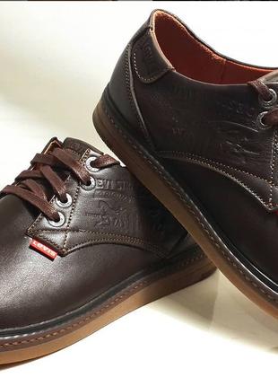 Кожаные мужские коричневые туфли levis model ls-plus.