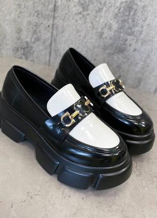 Рр 36-40. черно-белые туфли на платформе