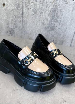 Рр 36-40. черно-бежевые туфли на платформе