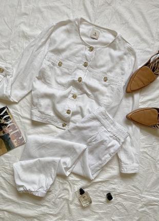 Стильний льоновий костюм/штани,молочного кольору