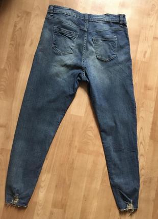 Новые джинсы с потёртостями внизу серые синие4 фото