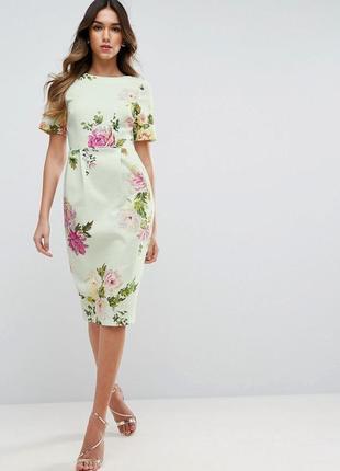 Платье футляр в цветочный принт миди с разрезом