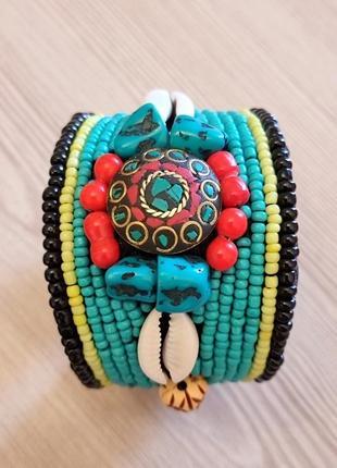 Широкий браслет этно бохо из бирюзы и бисера непал