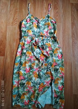 Платье сарафан с поясом в яркий принт