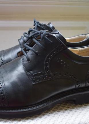 Кожаные туфли мокасины оксфорды броги ecco р.42 27.5 см