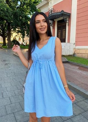 Новинка! голубое платье в горошек