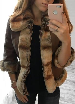 Двойная куртка из натурального меха (мутон)
