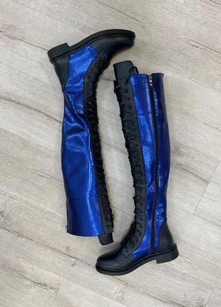 Ботфорти шкіряні шнуровка демисезонні зимові демі низький хід високі сапоги низький хід кожаные ботфорты сапоги деми зимние низкий ход