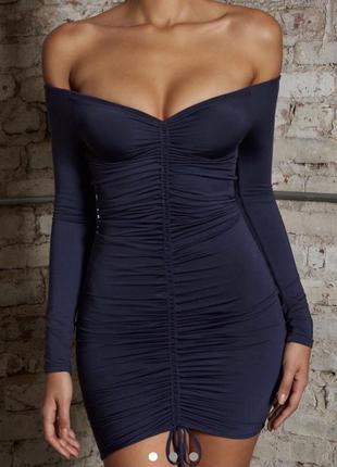 Темно синее платье со сборками oh polly