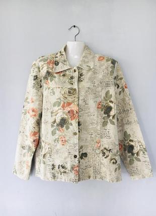 Красивый джинсовый пиджак в цветочный принт