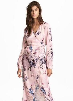 Платье халат,платье на запах в цветочный принт от h&m