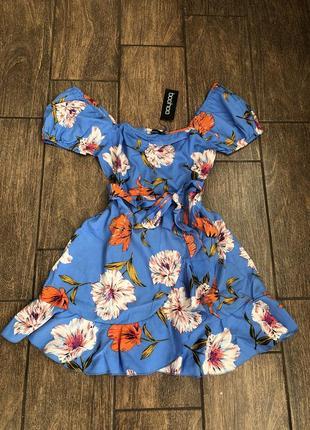 Новое летнее платье с бирками легкое с поясом boohoo