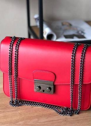 Сумка кроссбоди на цепочке кожаная красная italian bags