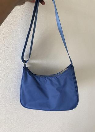Голубая сумка багет, из текстиля. zara