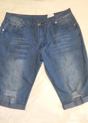 Шорты джинсовые рваные бедра 112-116