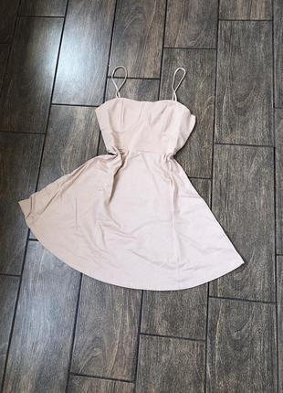 Новое хлопок летнее платье с бирками брендовое новое беж