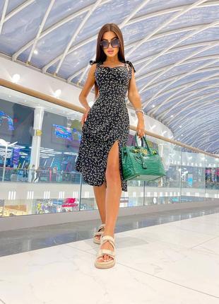 Нежное летнее миди платье сарафан с разрезом на ноге на завязках цветочный принт
