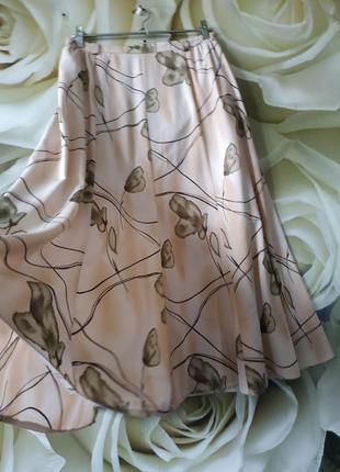 Легкая воздушная юбка миди свободного крояс разрезом